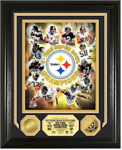 65a2ab265 The Highland Mint commemorates the Steelers NFL record 6 Super Bowl Titles  with this Limited Edition 13x16 double matted and framed Collectible frame  ...