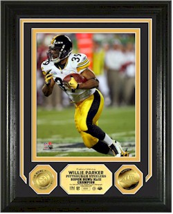 mint commemorates willie parker and the steelers super bowl championship with this limited edition 13x16 double matted and framed collectible frame